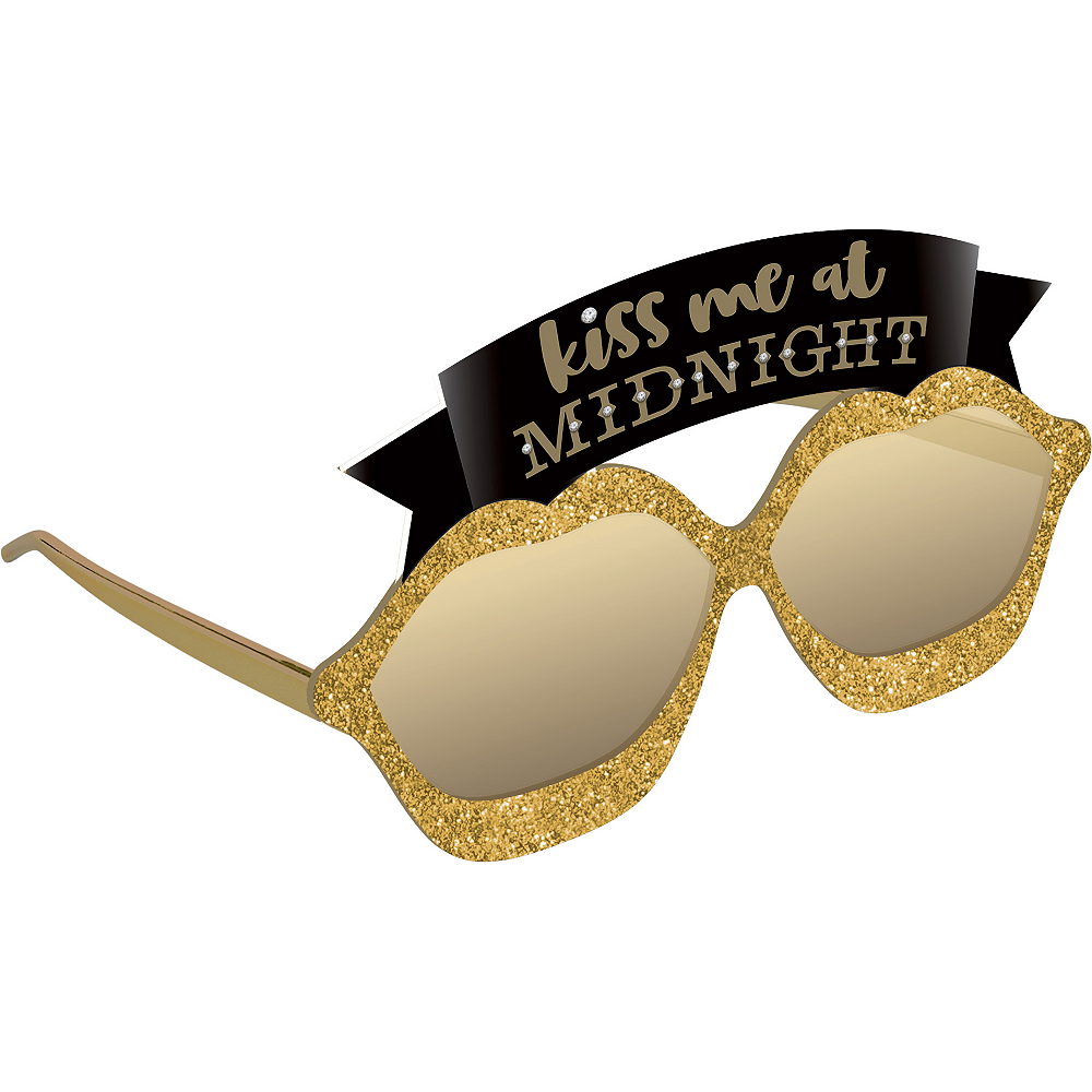 Glitter Gold Kiss Me at Midnight New Year's Eve Sunglasses Image #1