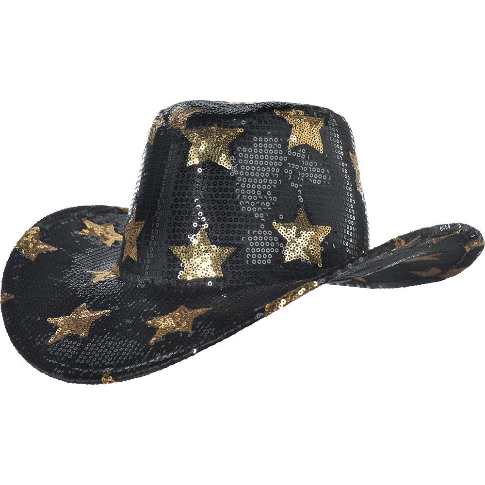 Sequin Gold Stars Cowboy Hat Image #1