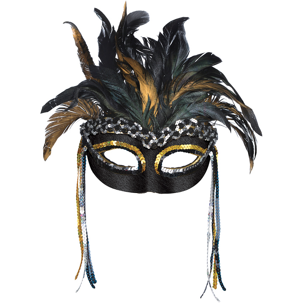 Black & Gold Feather Masquerade Mask Image #1