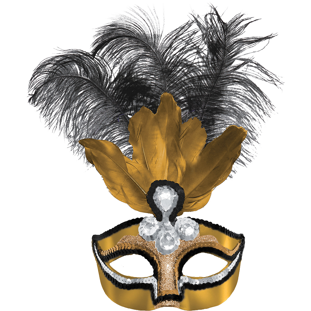 Gold Feather Masquerade Mask Image #1