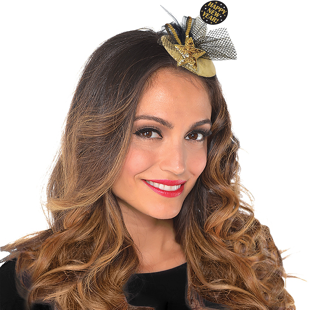 Black & Gold Happy New Year Hair Clip Image #1