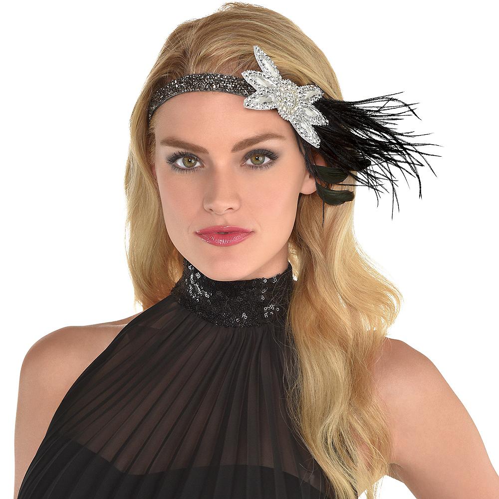 Black & Silver Gemstone Flower Headband Image #1