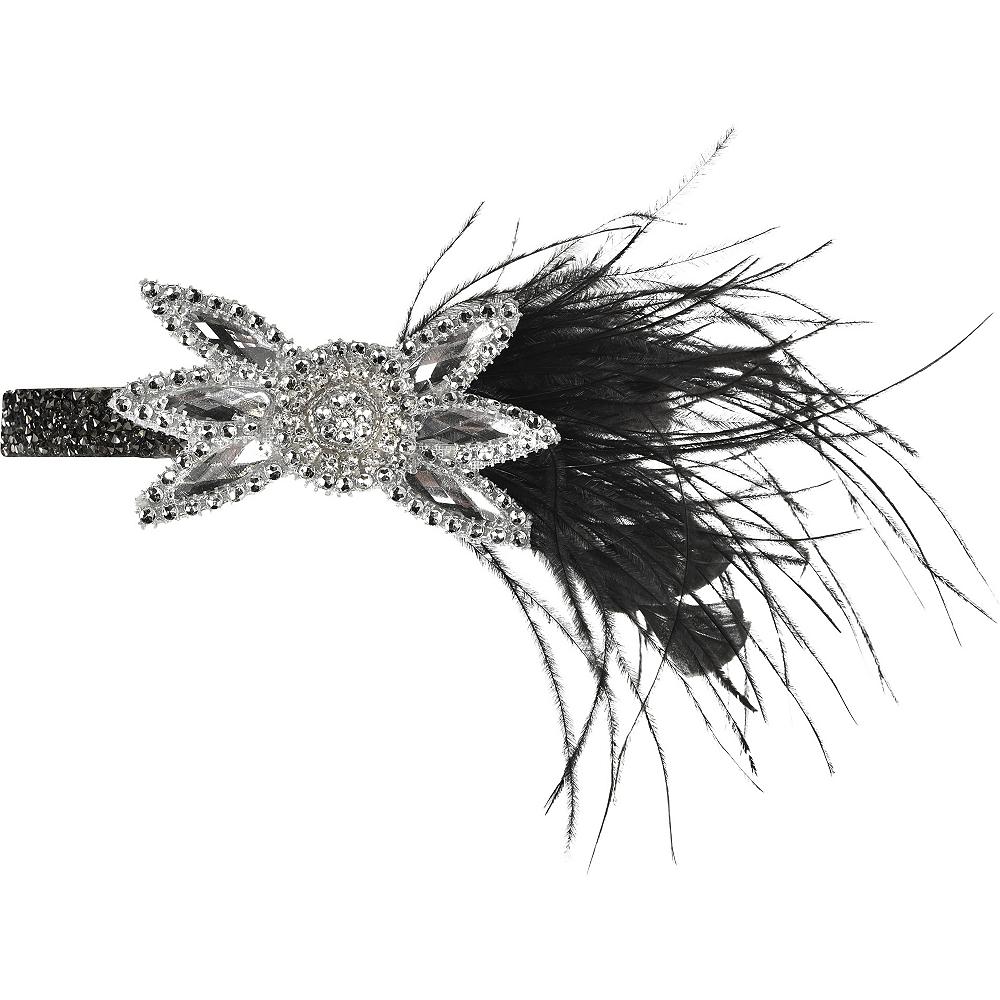 Black & Silver Gemstone Flower Headband Image #2
