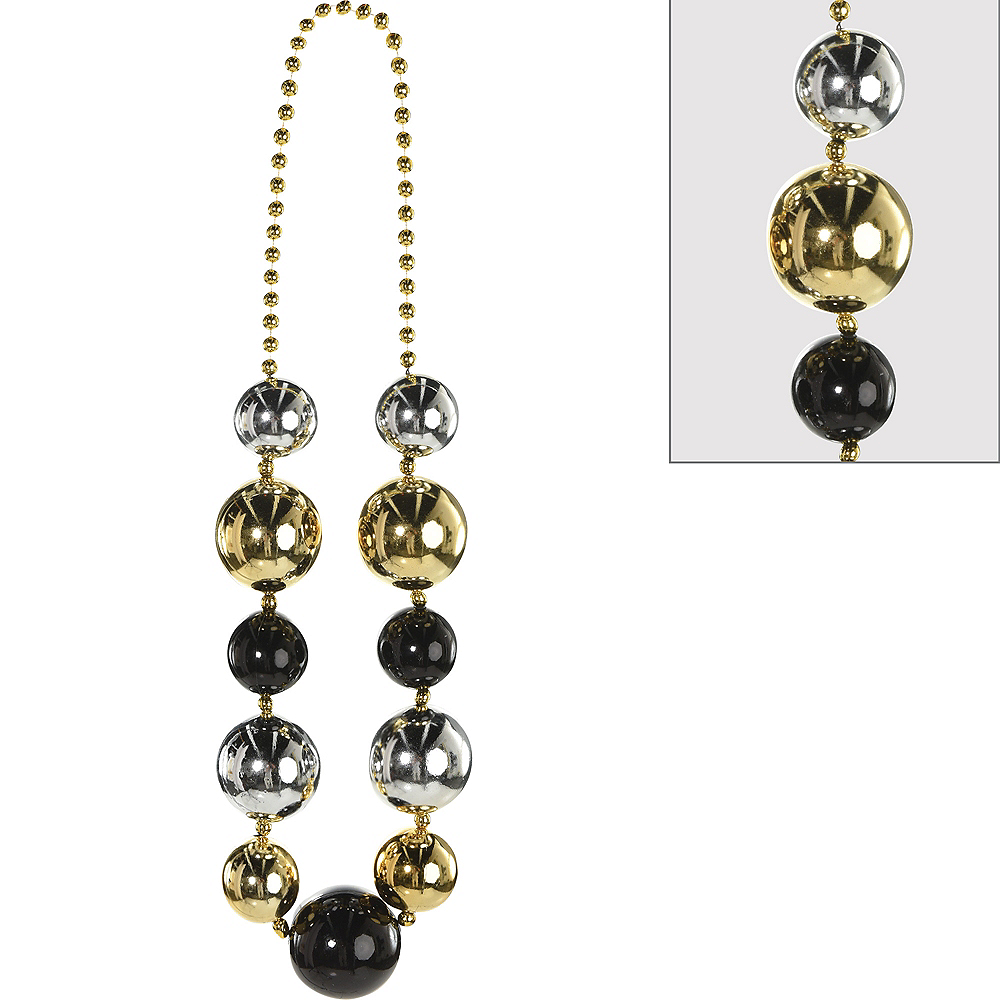 Jumbo Black, Gold & Silver Bead Necklace Image #1