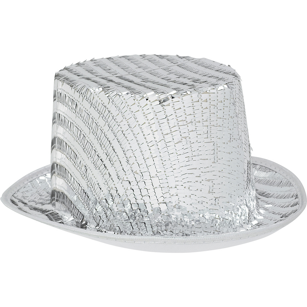 Silver Sequin Top Hat Image #1