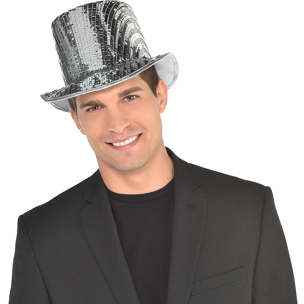 Silver Sequin Top Hat Image #3