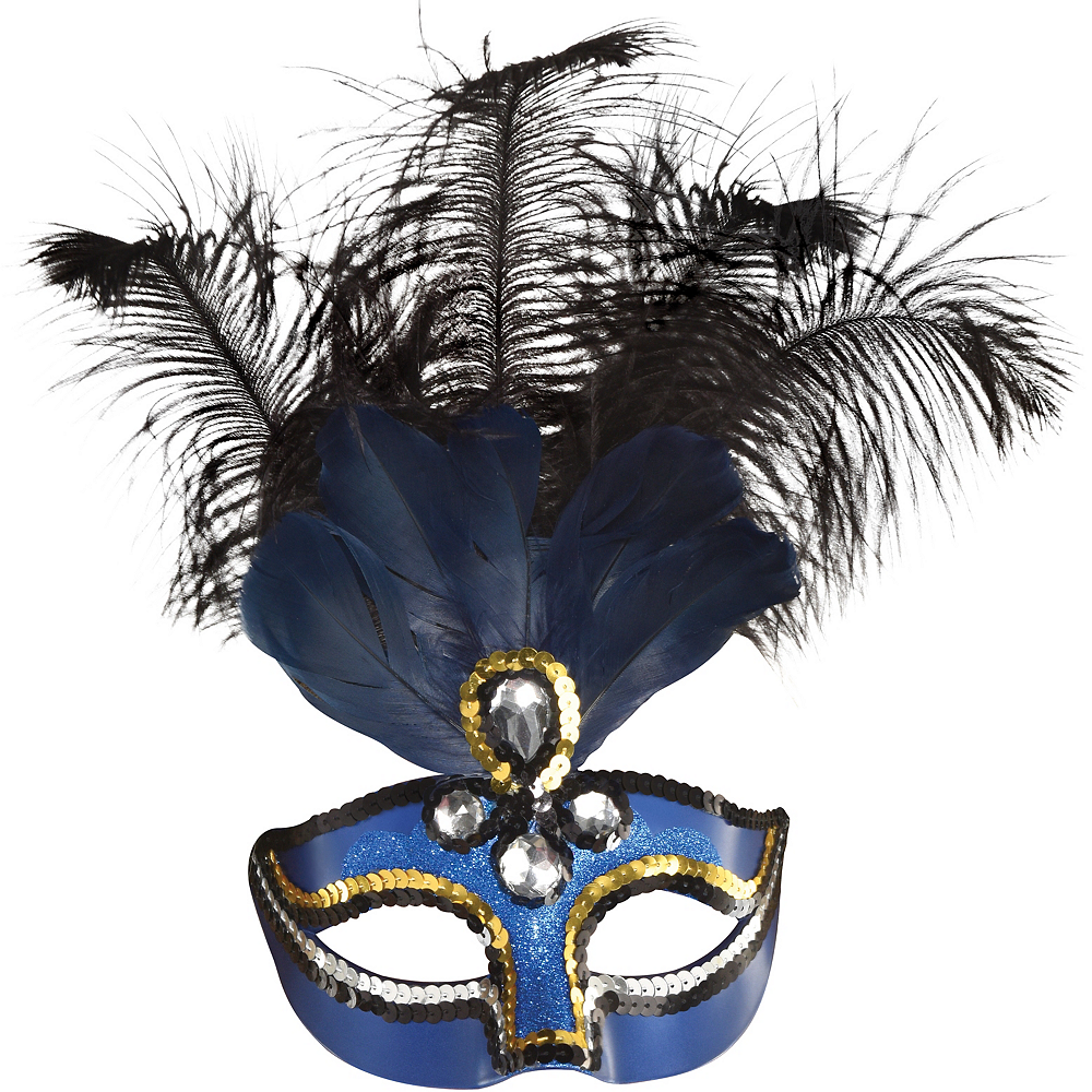 Blue Feather Masquerade Mask Image #1