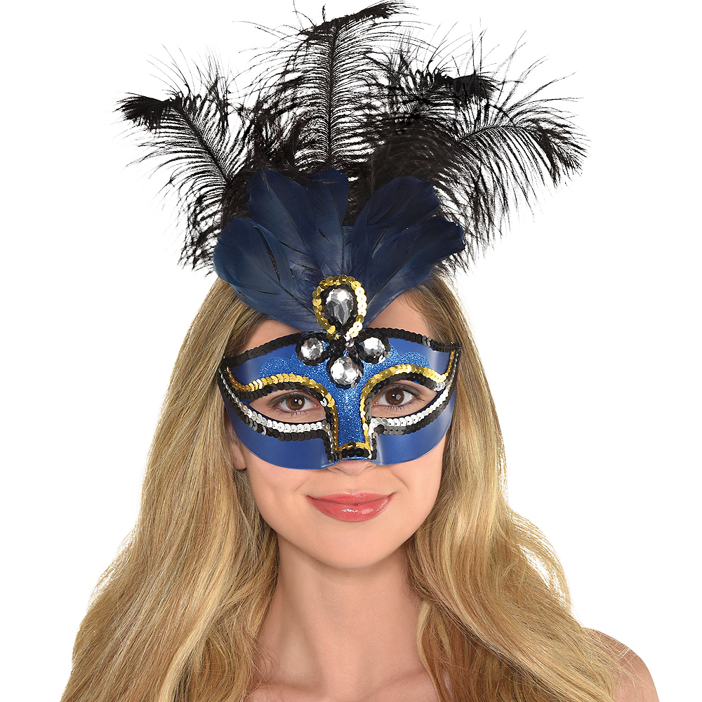 Blue Feather Masquerade Mask Image #2