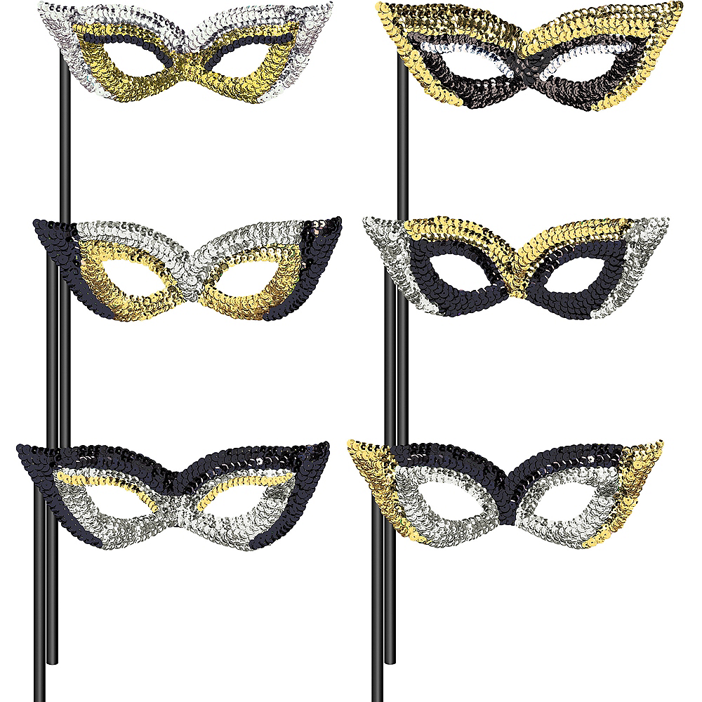 Black, Gold & Silver Masquerade Masks 6ct Image #1