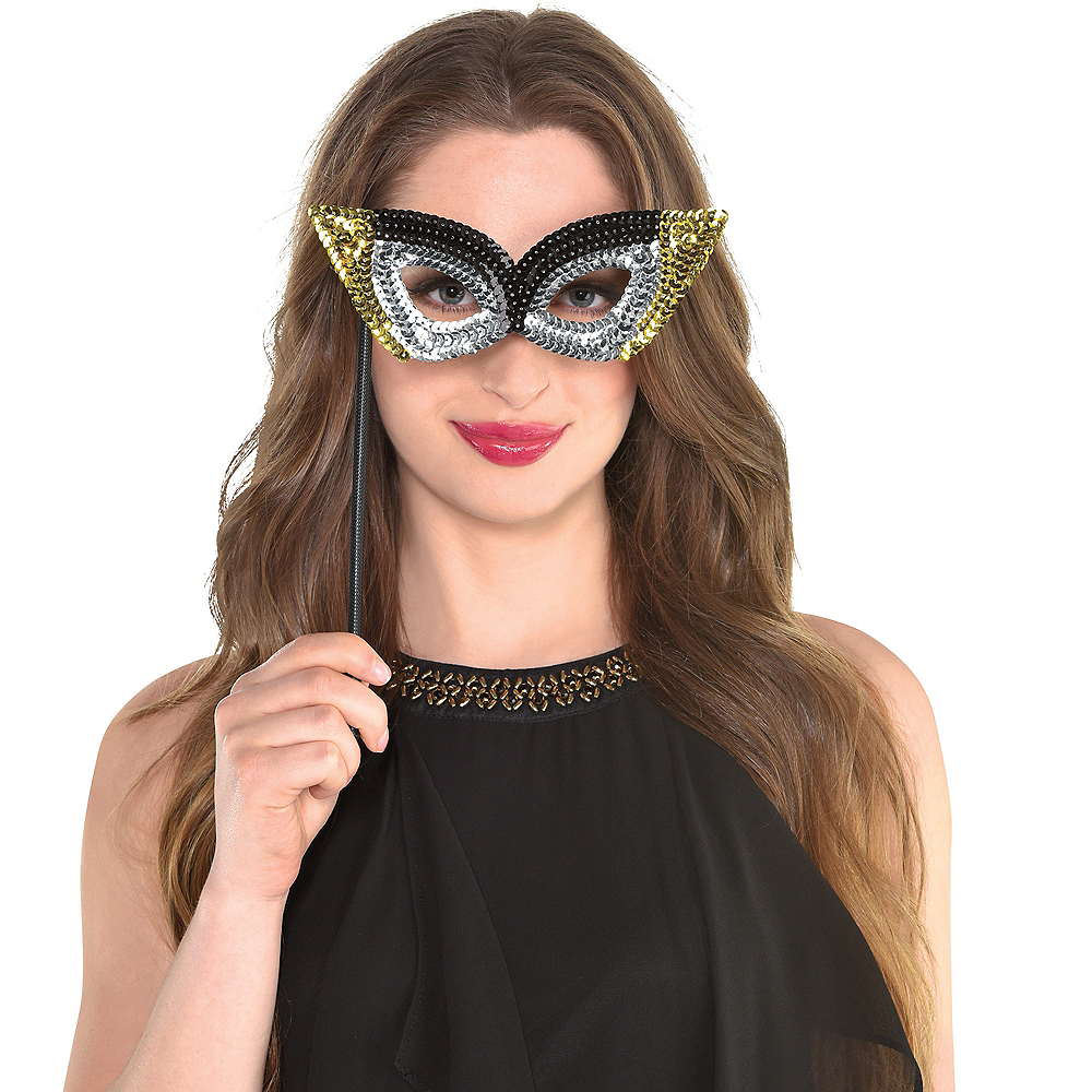 Black, Gold & Silver Masquerade Masks 6ct Image #2