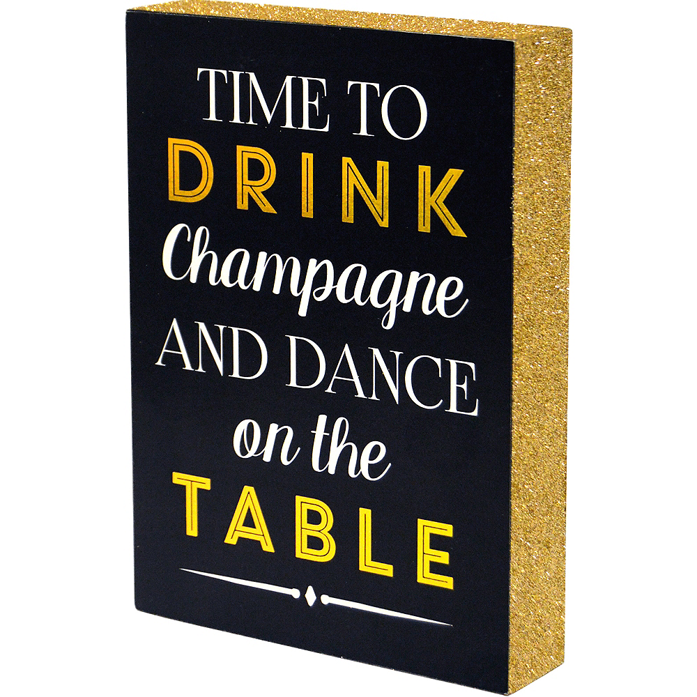 Glitter Gold Time to Drink Champagne Sign Image #1