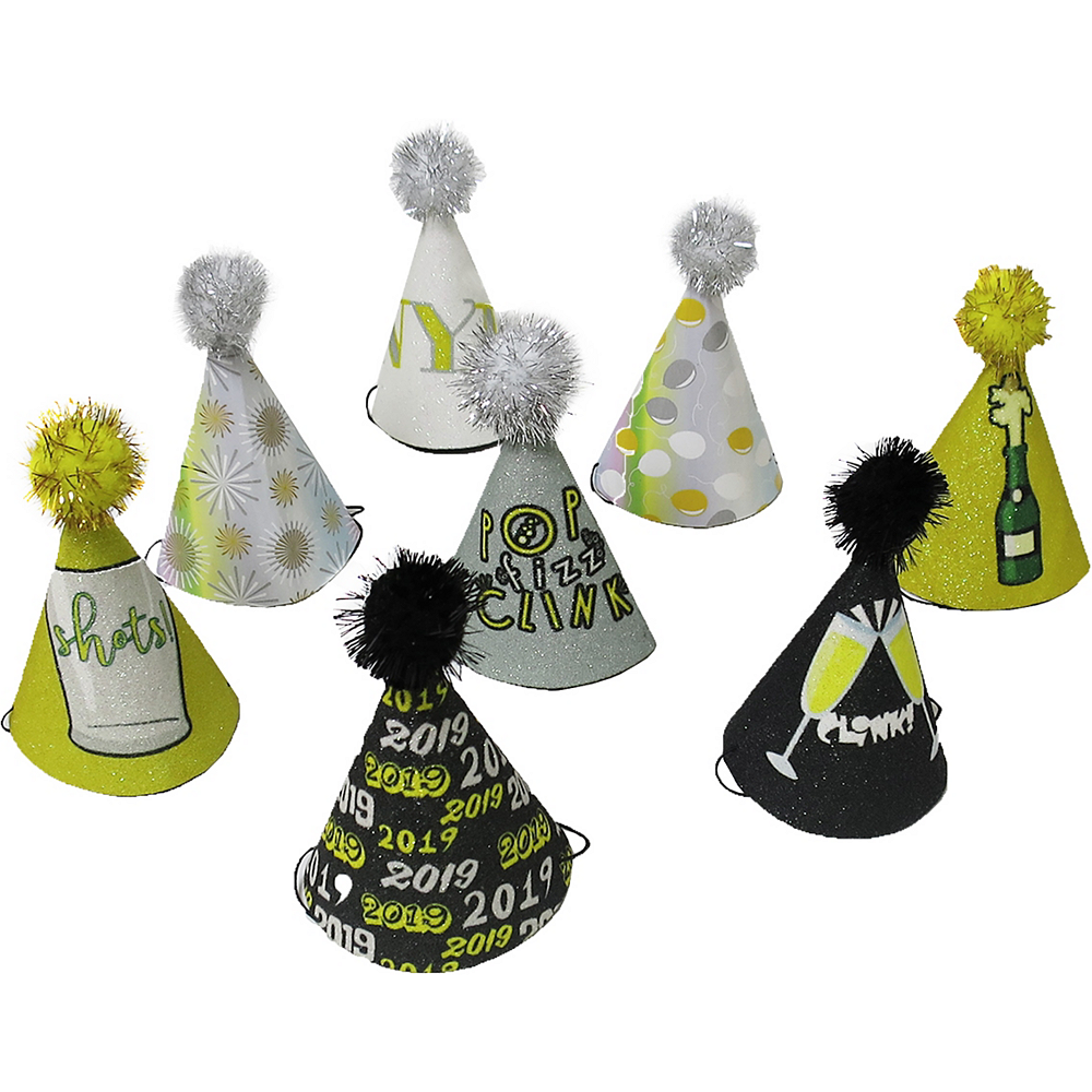 Mini Glitter New Year's Eve Party Hats 8ct Image #1
