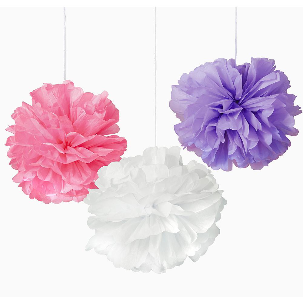 Pink, Purple & White Tissue Pom Poms 3ct Image #1