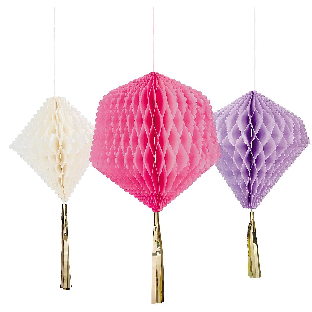 Pink Purple White Diamond Honeycomb Decorations 3ct