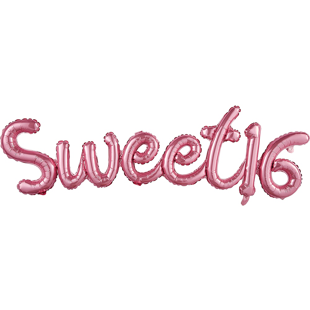 Air-Filled Pink Sweet 16 Cursive Letter Balloon Banners 2ct | Party City