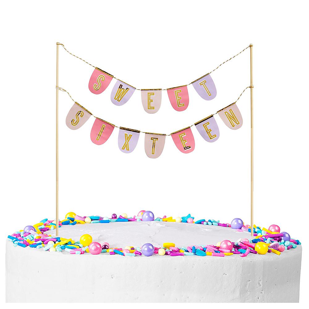 Metallic Gold Sweet Sixteen Banner Cake Topper Image #1