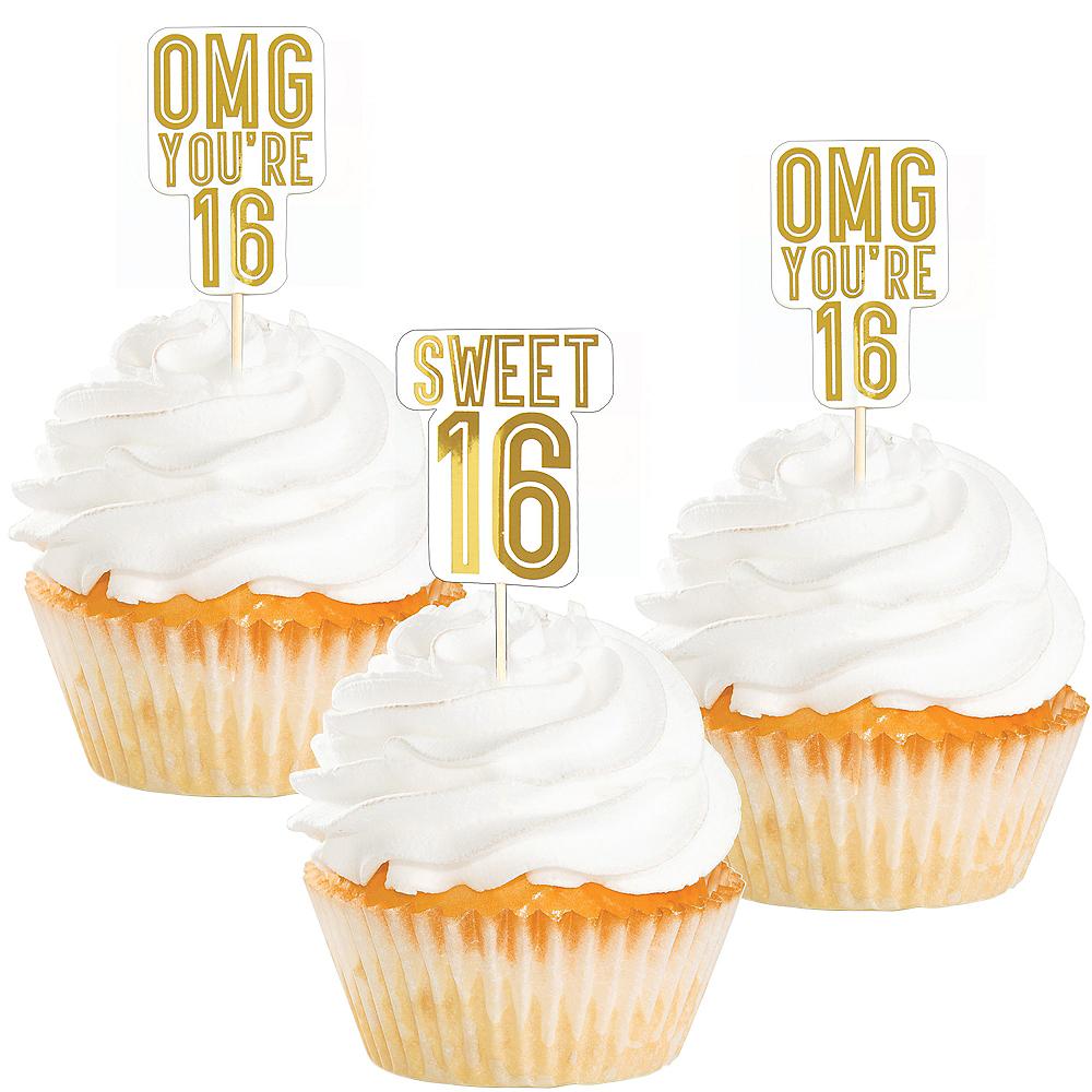 Metallic Gold Sweet 16 Cupcake Picks 16ct Image #1