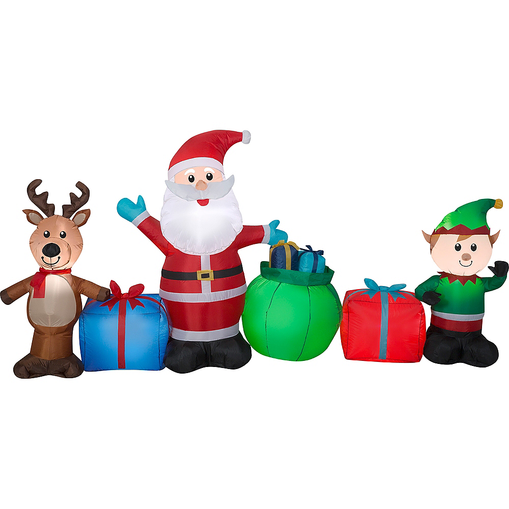 Light-Up Inflatable Santa & Friends 9ft x 4 1/2ft | Party City