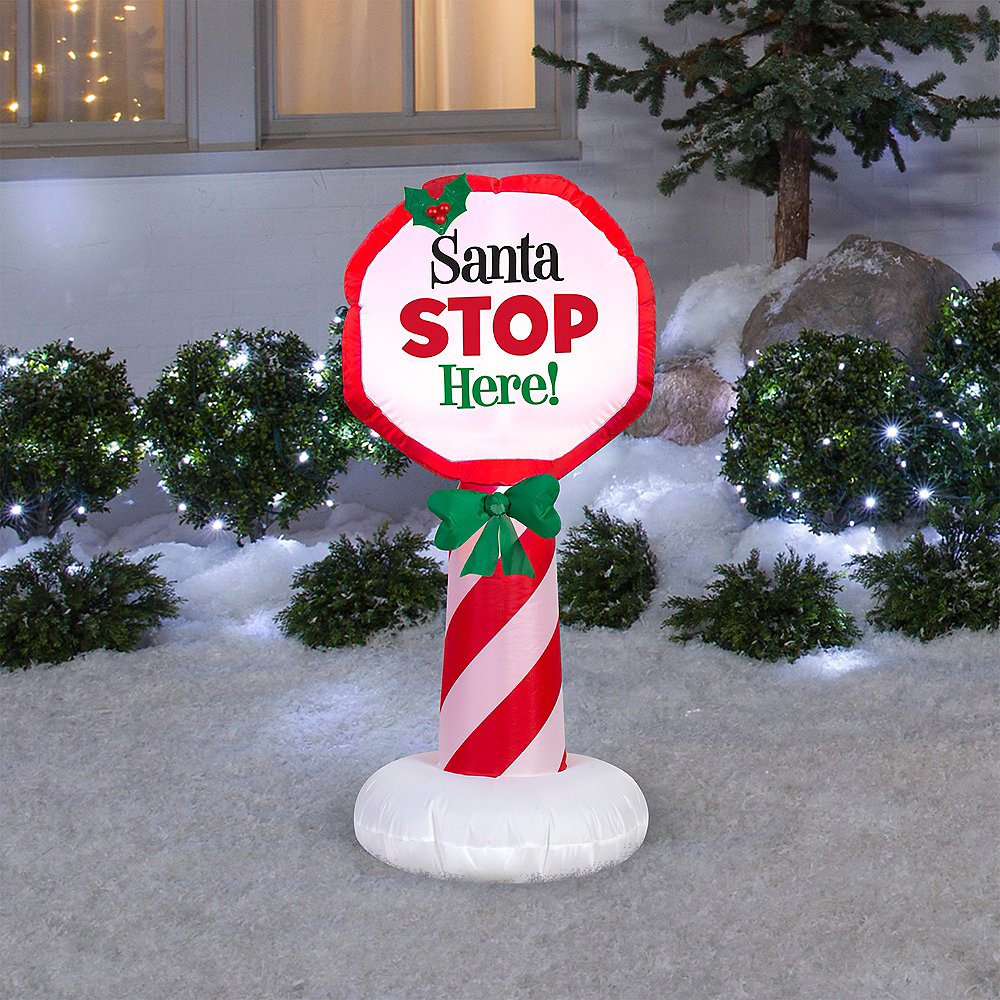 Light-Up Inflatable Santa Stop Here Sign Image #2