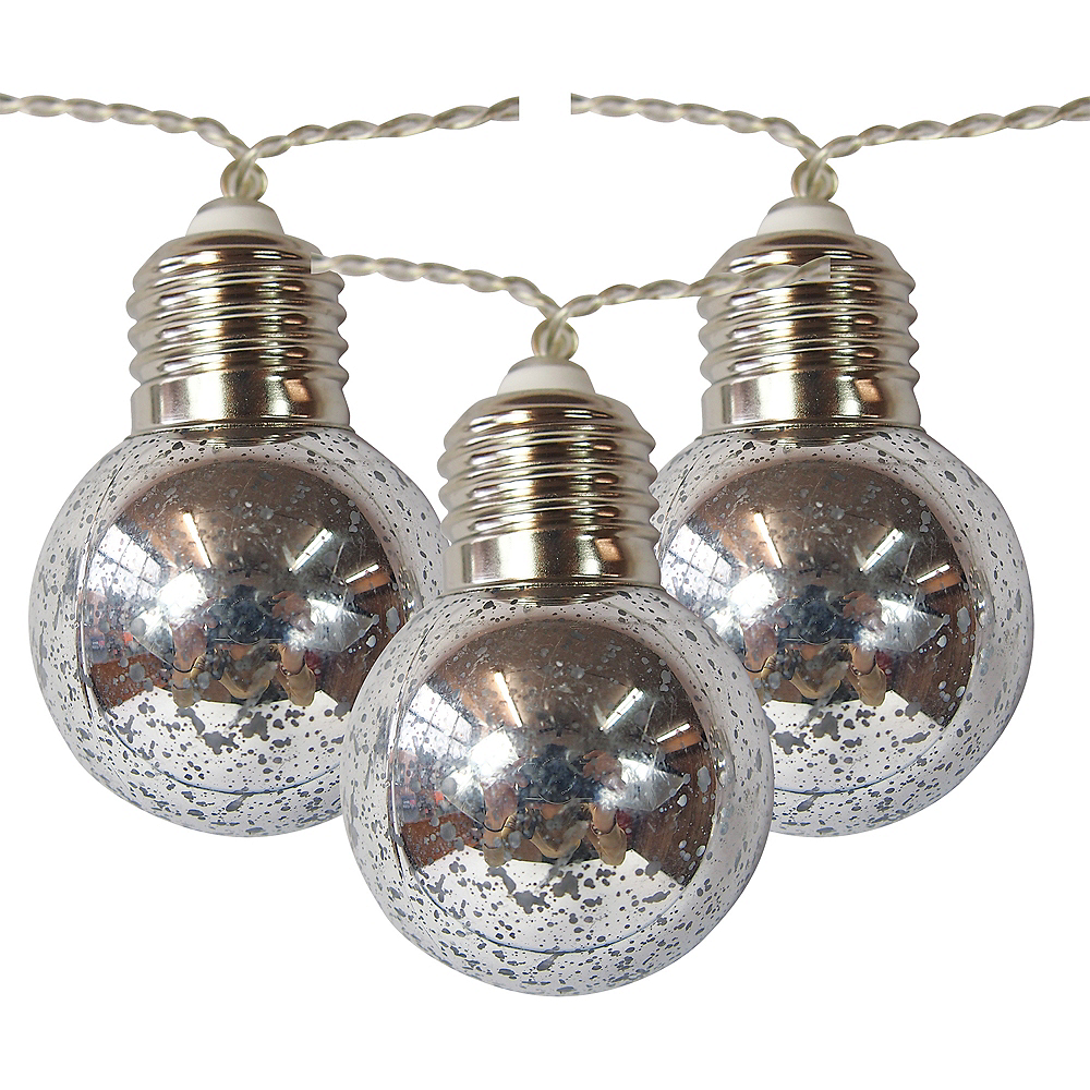 Silver Ornament String Lights Image #1