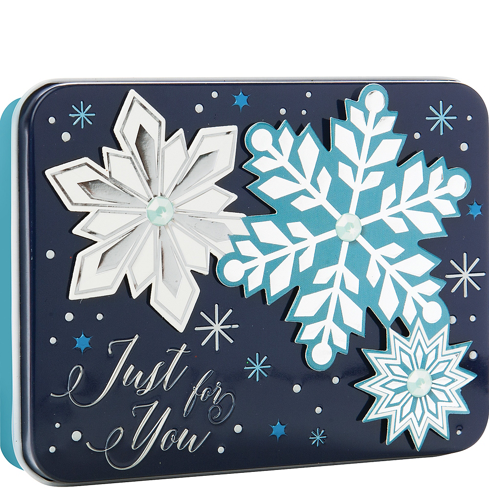 Blue Snowflakes Gift Card Holder Tin Image #1