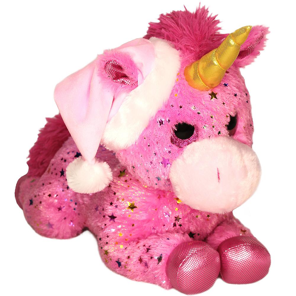 Pink Santa Unicorn Plush Image #1