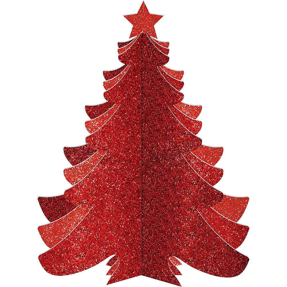 Glitter Red Christmas Tree Image #1