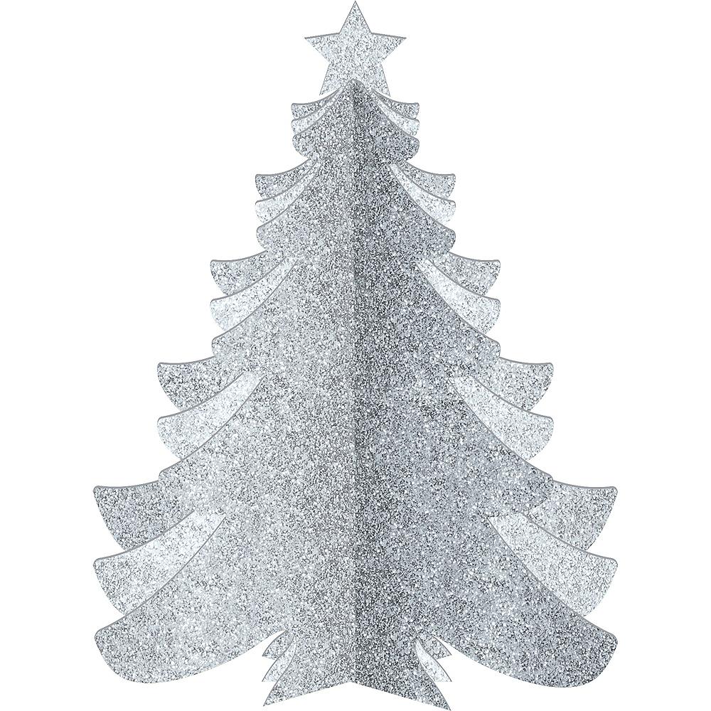 Glitter Silver Christmas Tree Image #1