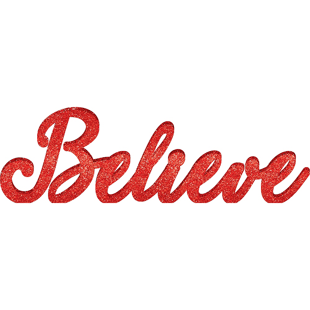 Glitter Red Believe Sign Image #1