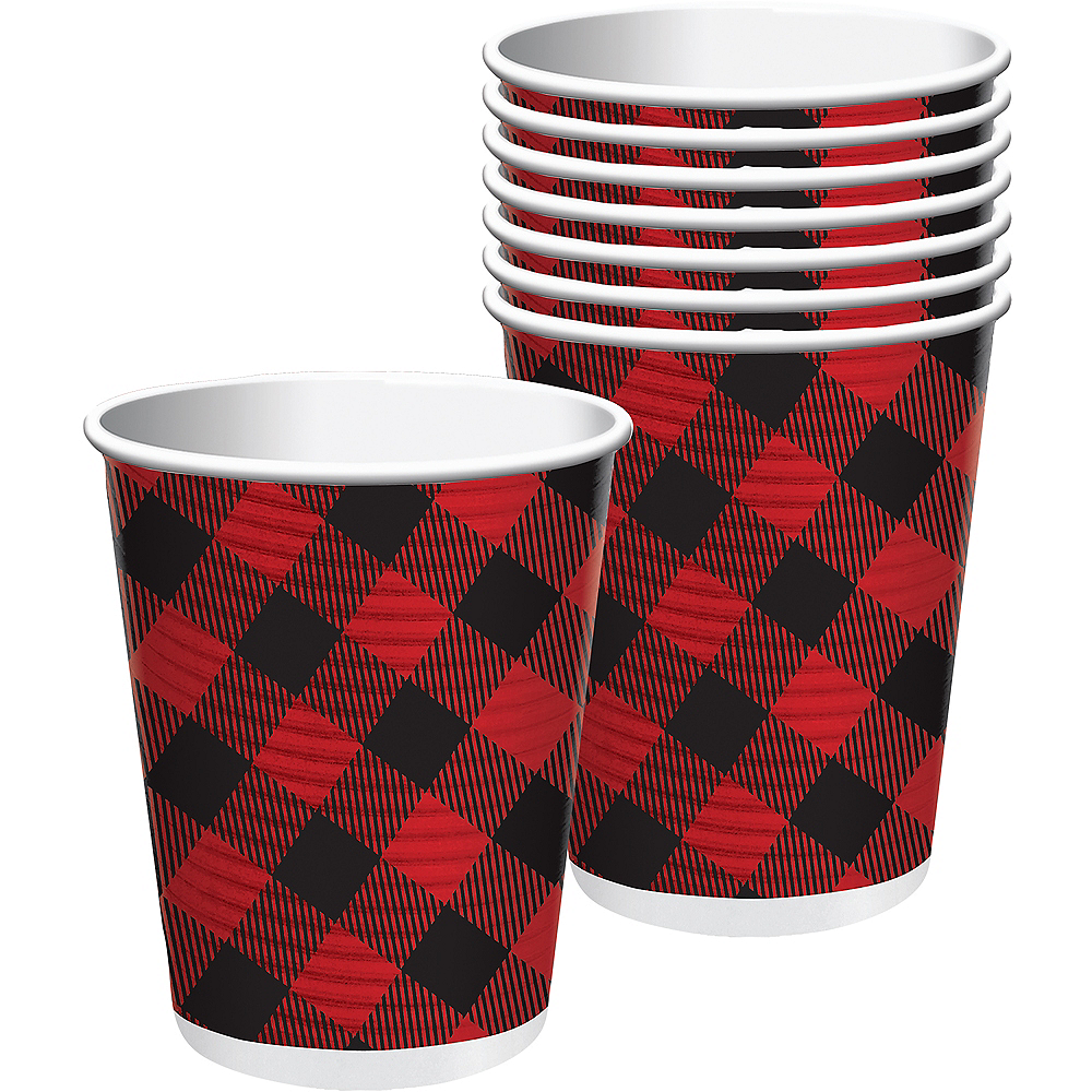 Buffalo Plaid Coffee Cups with Lids 8ct Image #1