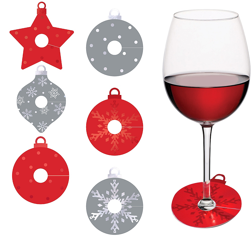 Red & Silver Ornament Wine Glass Tags 18ct Image #1