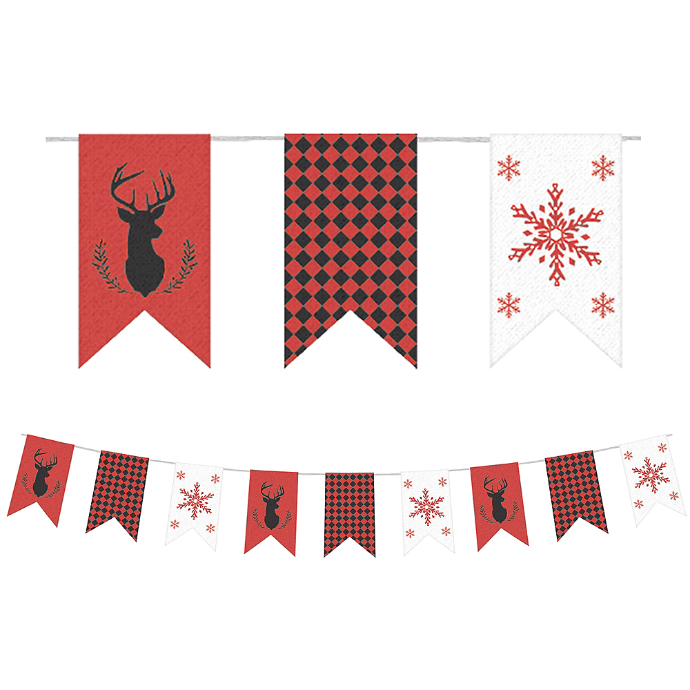 Christmas Burlap Pennant Banner Image #1