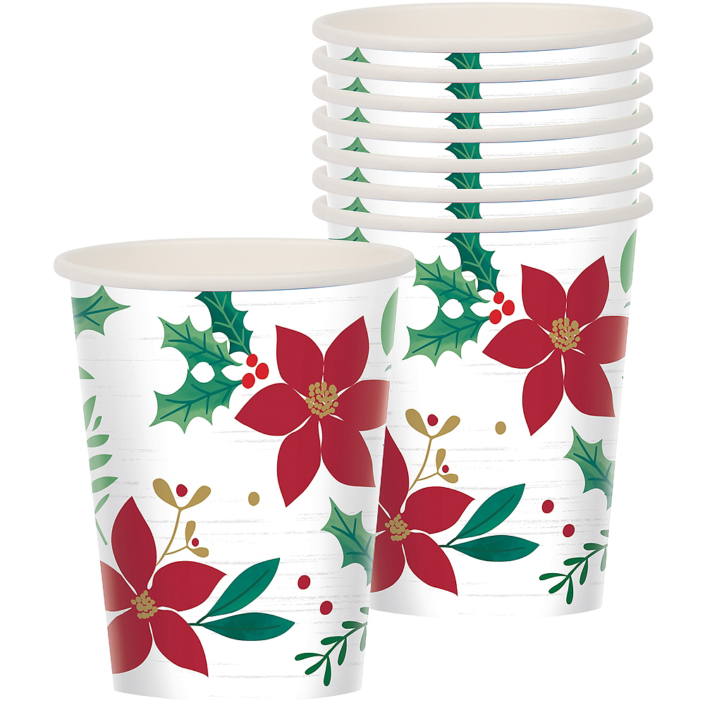 Holly Merry Christmas Cups 8ct Image #1