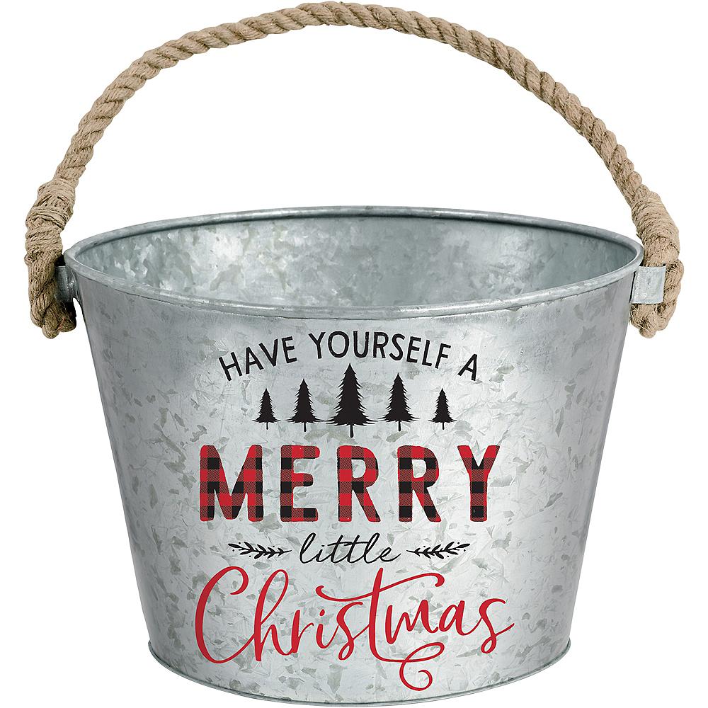 Merry Little Christmas Galvanized Bucket Image #1