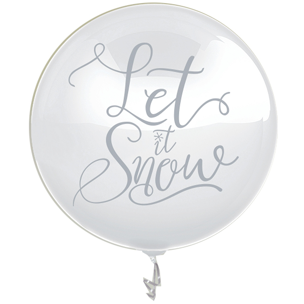 Let It Snow Christmas Balloon with Confetti Image #1