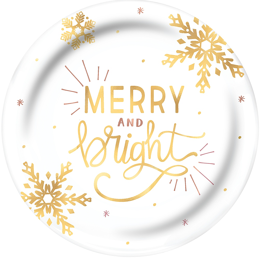 Metallic Gold Merry & Bright Serving Tray Image #1