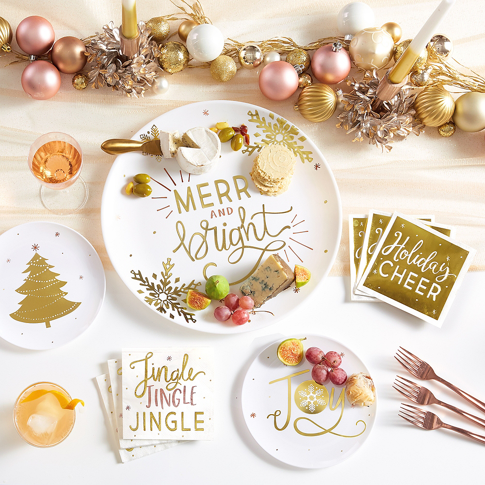 Metallic Gold Merry & Bright Serving Tray Image #2