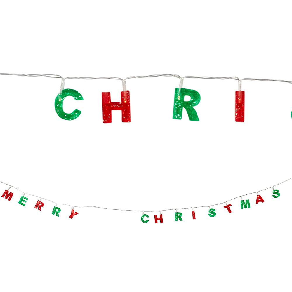 Glitter Merry Christmas String Lights Image #1