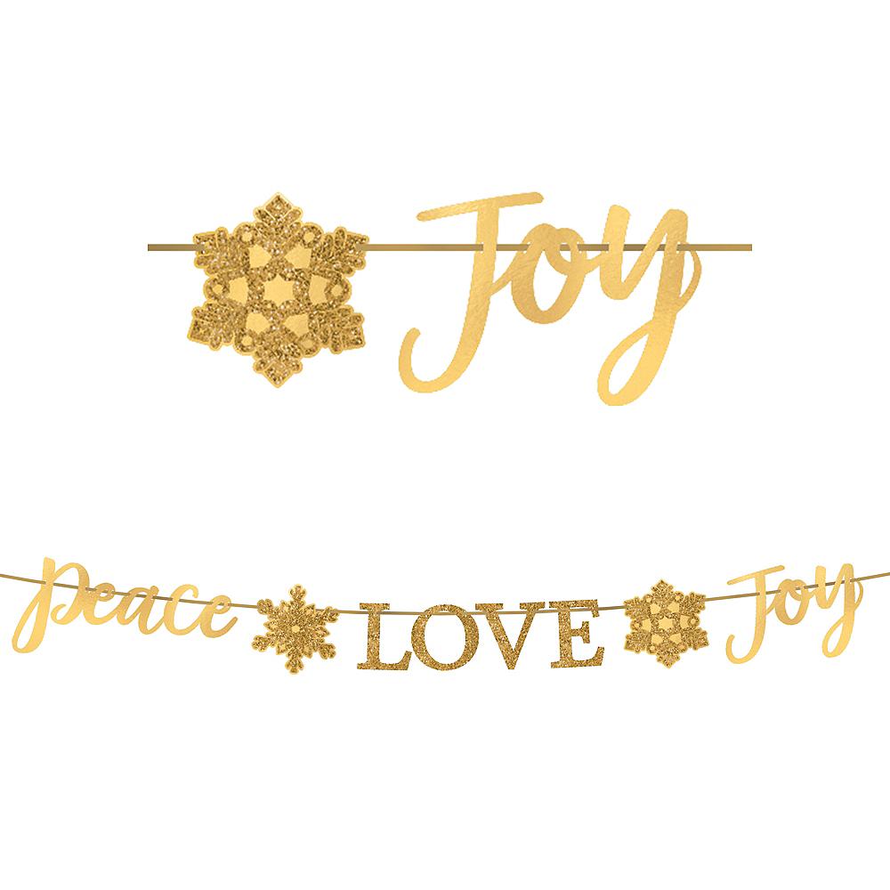 Glitter Gold Peace Love Joy Letter Banner Image #1