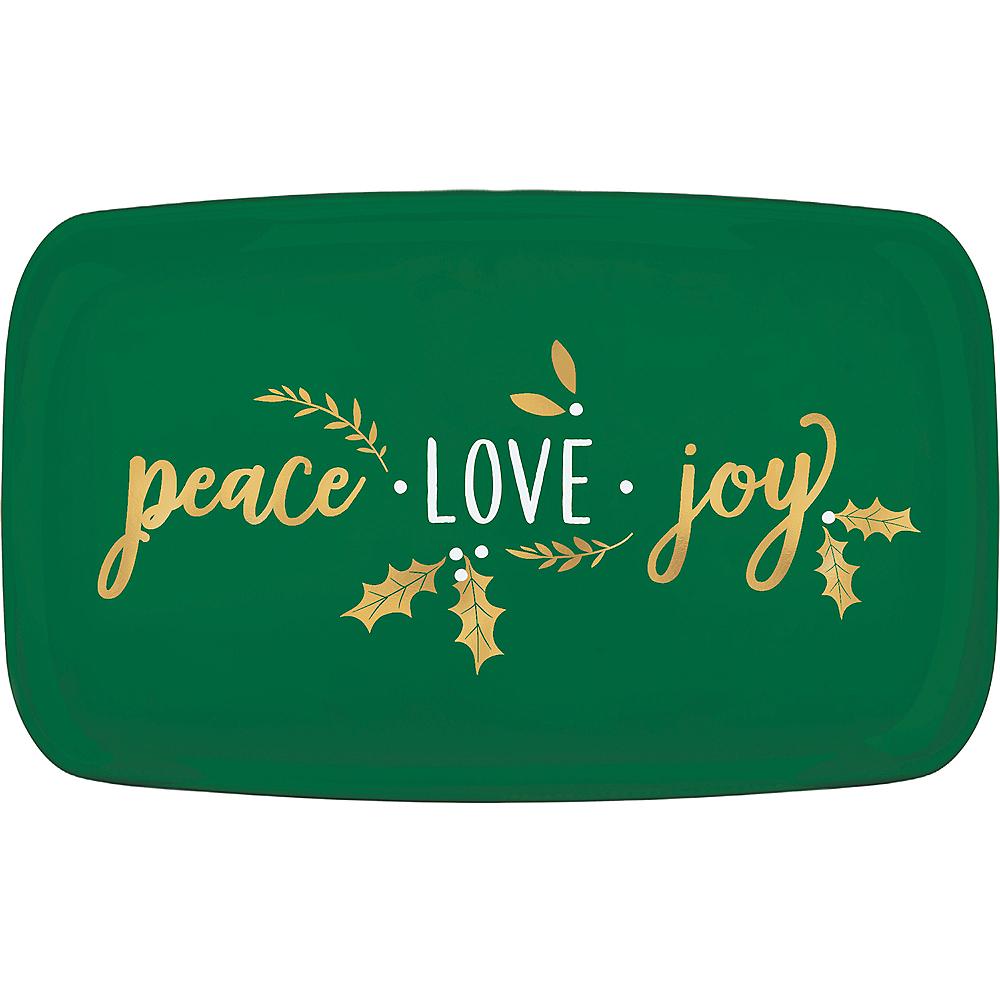 Metallic Peace, Love, Joy Plastic Rectangular Platter Image #1