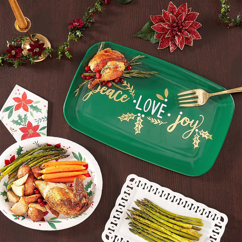Metallic Peace, Love, Joy Plastic Rectangular Platter Image #2