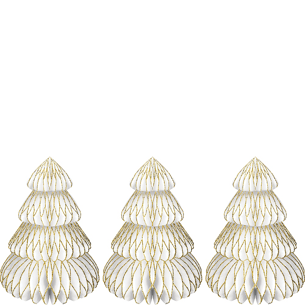 Glitter Tree Honeycomb Centerpieces 3ct Image #1