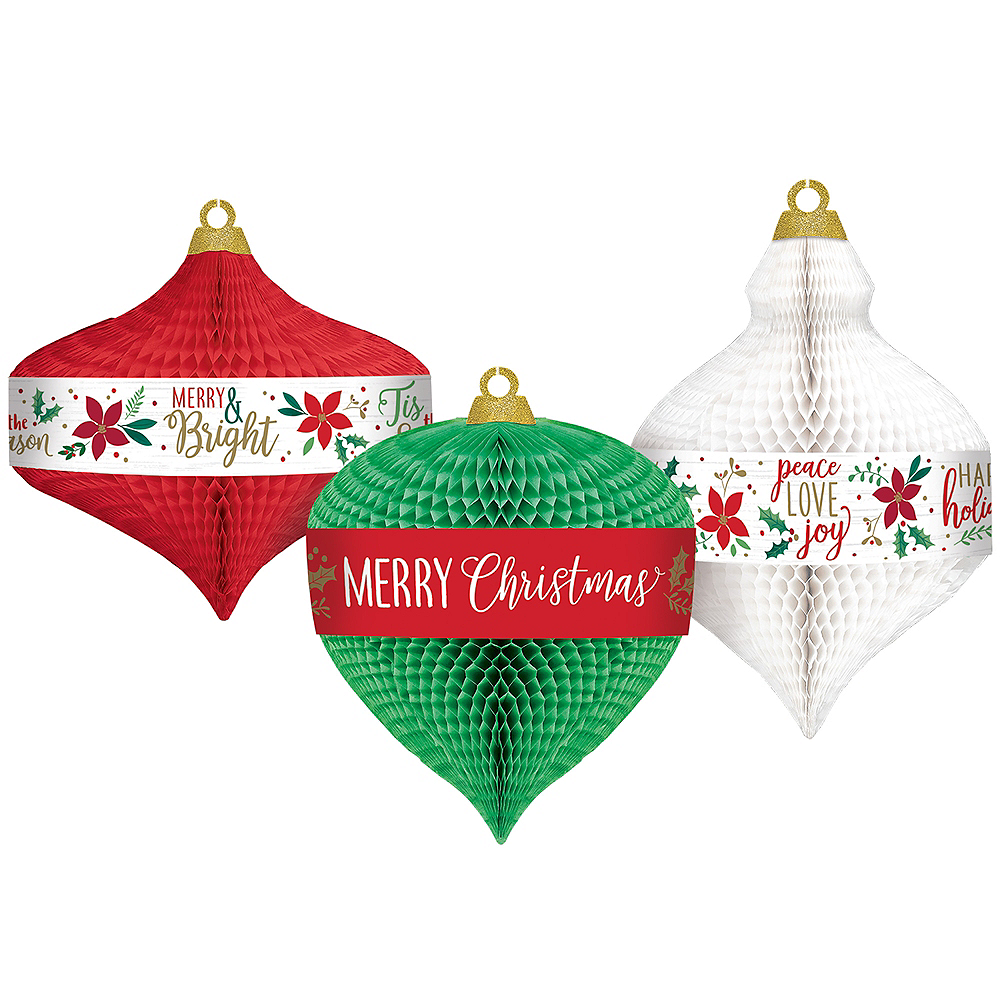 christmas ornaments honeycomb decorations 3ct image 1