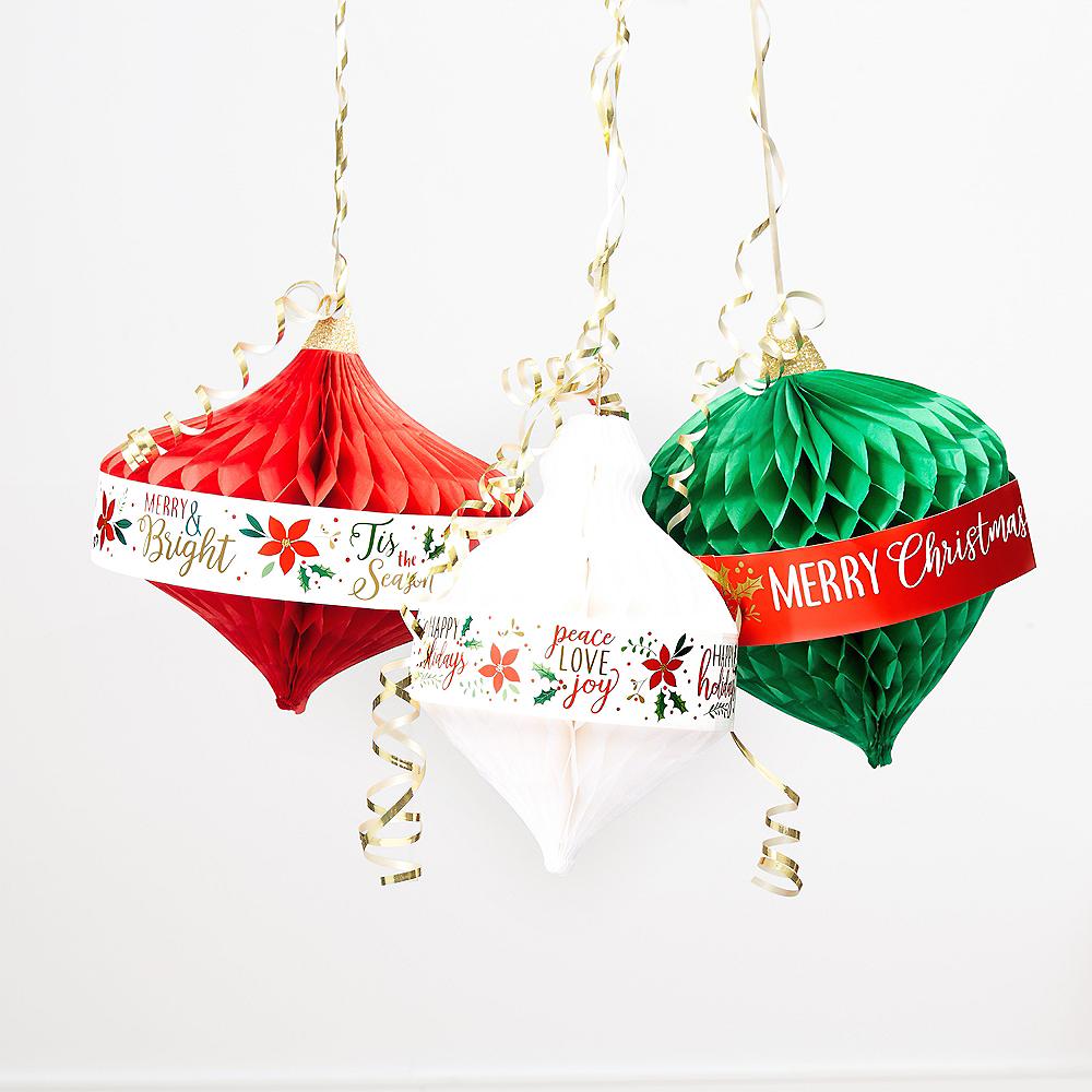 Christmas Ornaments Honeycomb Decorations 3ct Image #2