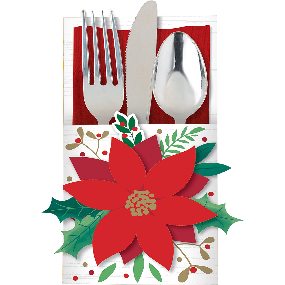 Poinsettia Cutlery Holders 12ct Image #1