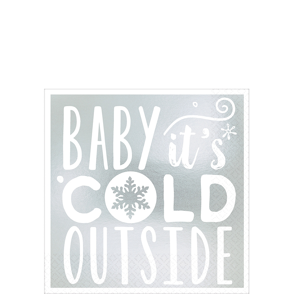 Metallic Baby It's Cold Outside Beverage Napkins 16ct Image #1