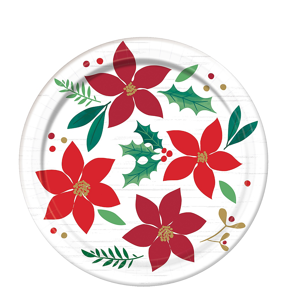 Christmas Plates.Holly Merry Christmas Dessert Plates 8ct