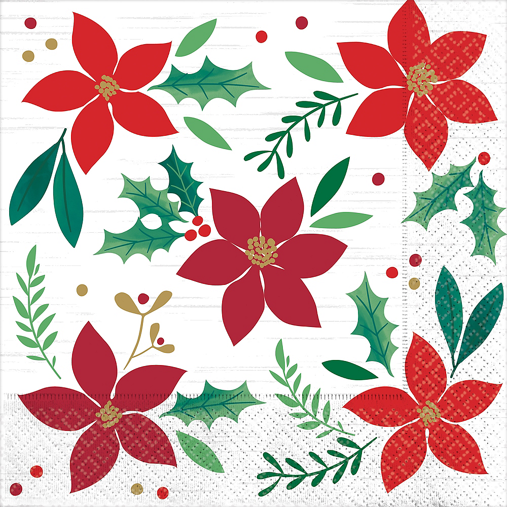 Nav Item for Holly Merry Christmas Dinner Napkins 16ct Image #1