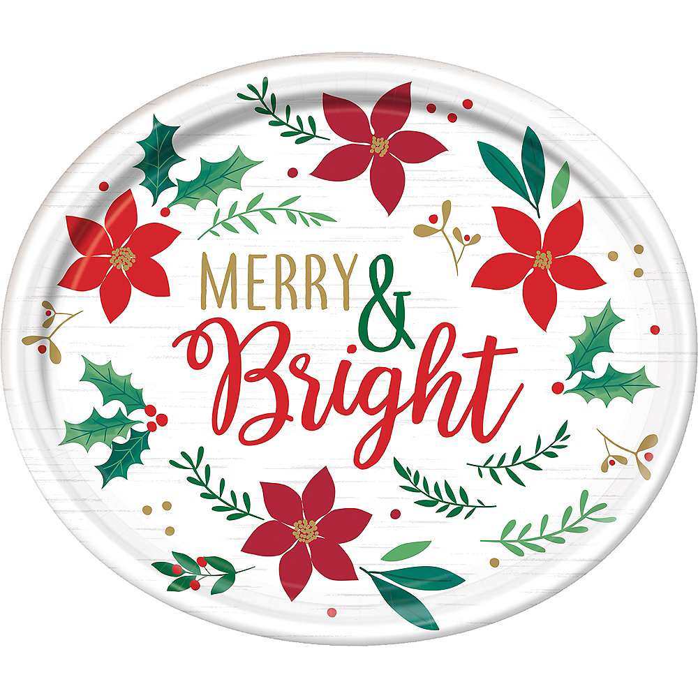 Holly Merry Christmas Oval Plates 8ct Image #1