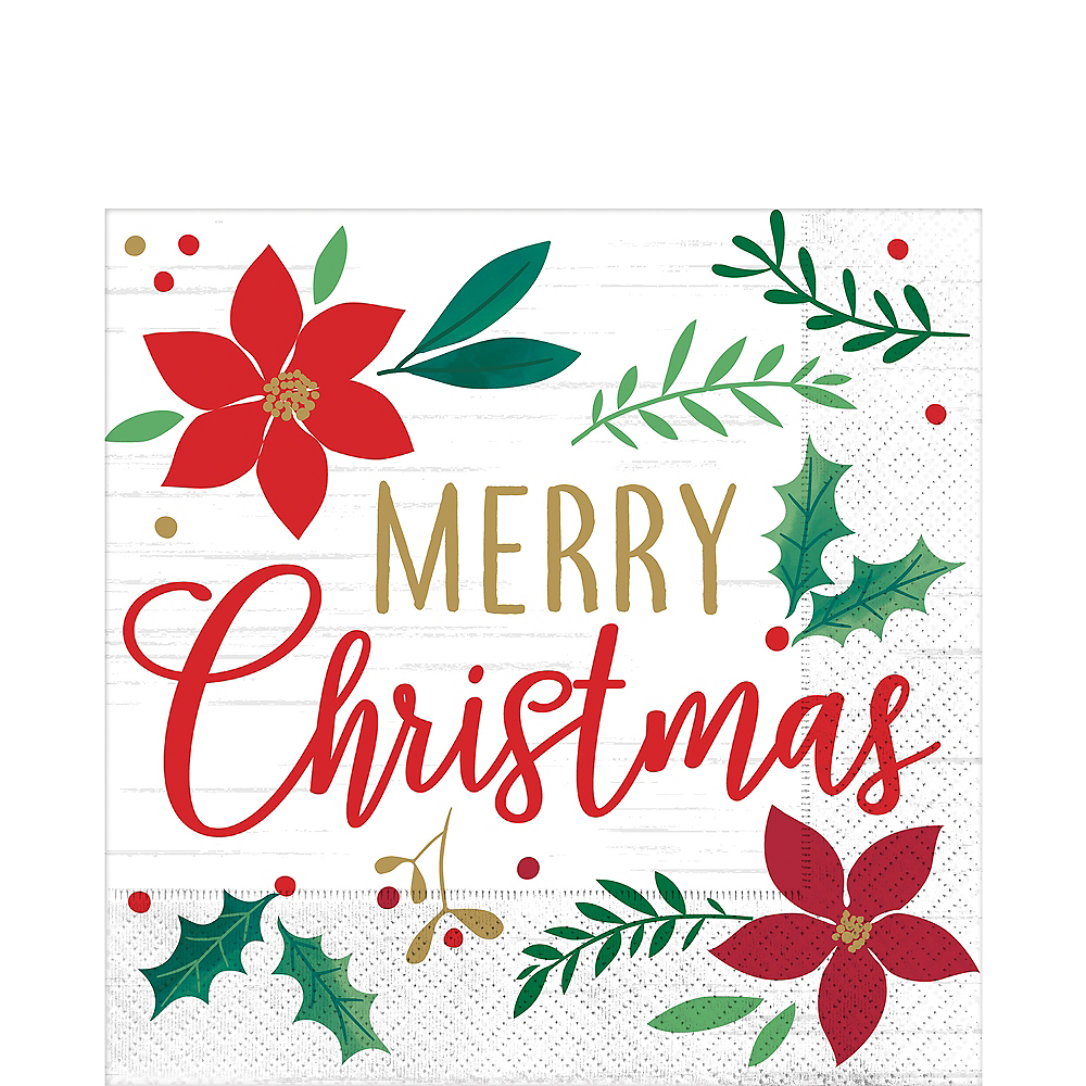 Holly Merry Christmas Lunch Napkins 16ct Image #1